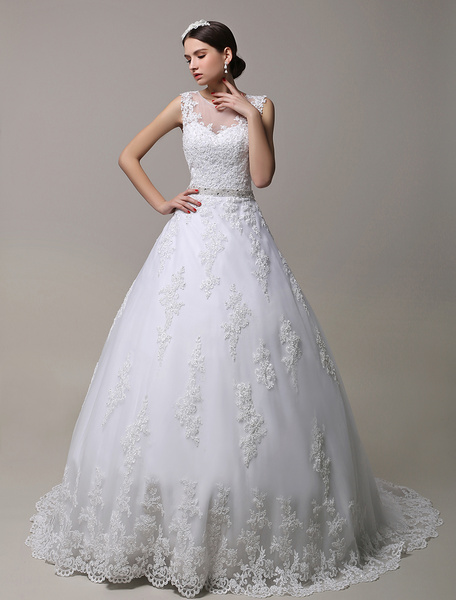 Milanoo Wedding Dresses White Illusion Neck Bridal Gown Lace Applique Beaded Sash Wedding Gown With Train
