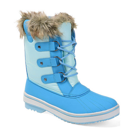 Journee Collection Womens North Water Resistant Block Heel Lace-up Snow Boots, 10 Medium, Blue