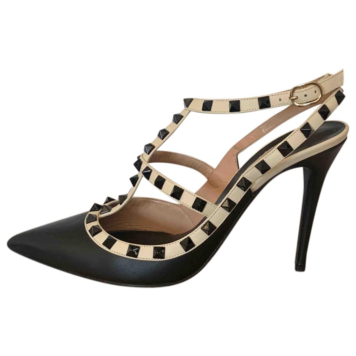 Valentino Garavani Rockstud Black Leather Heels for Women 40.5 EU