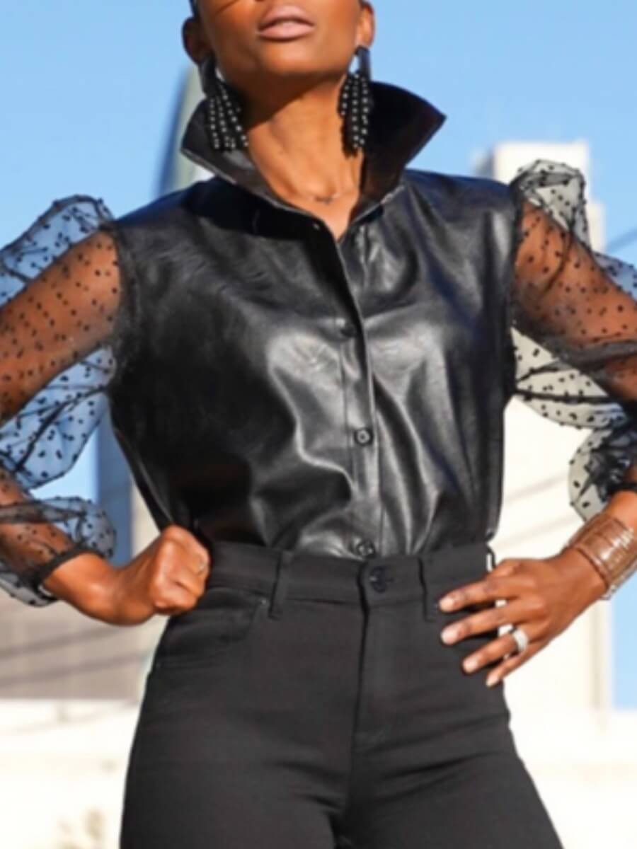 LW Lovely Street Mesh Patchwork Button Design Black Blouse