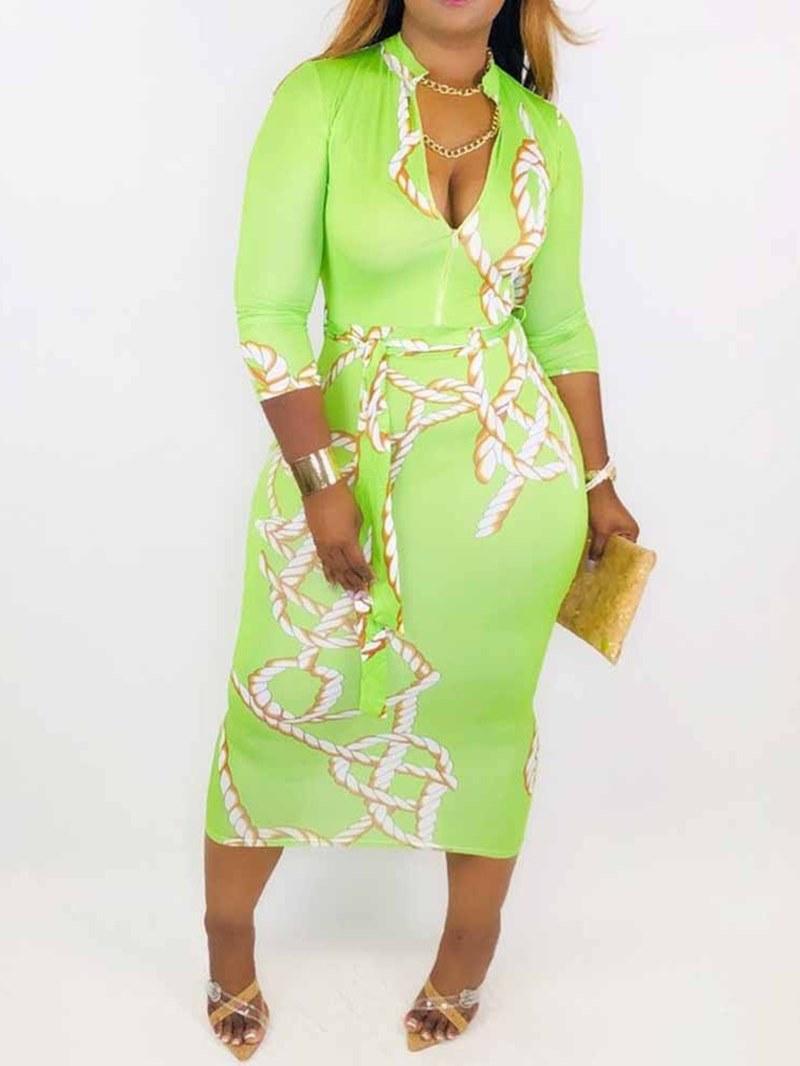 Ericdress Stand Collar Print Three-Quarter Sleeve Sheath Regular Dress