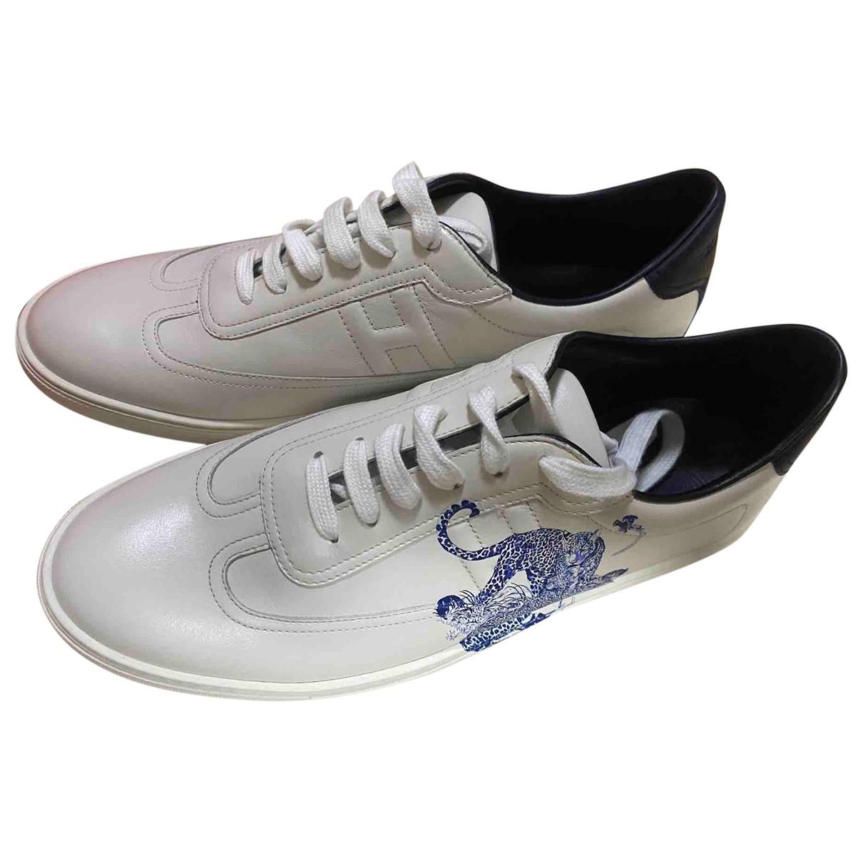 Hermes Starter Sneakers in  Weiss Leder