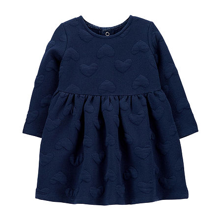 Carter's Baby Girls Long Sleeve Fitted Sleeve A-Line Dress, 9 Months , Blue