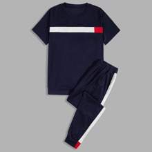 Men Color-block Tee & Side Seam Sweatpants