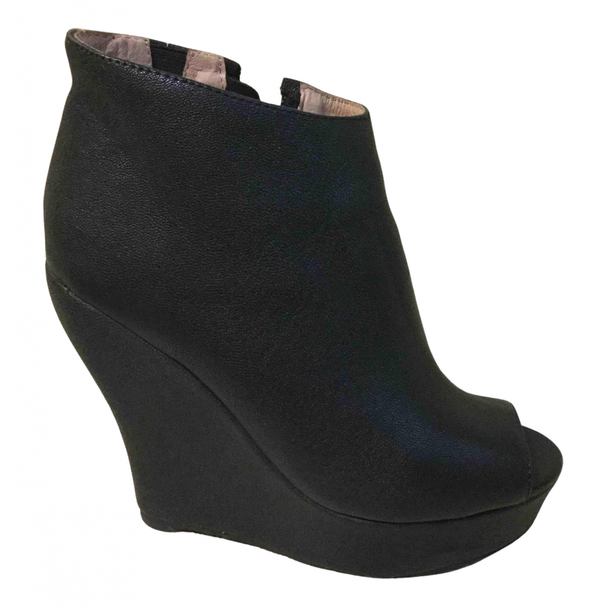 Jeffrey Campbell N Black Leather Ankle boots for Women 37 IT