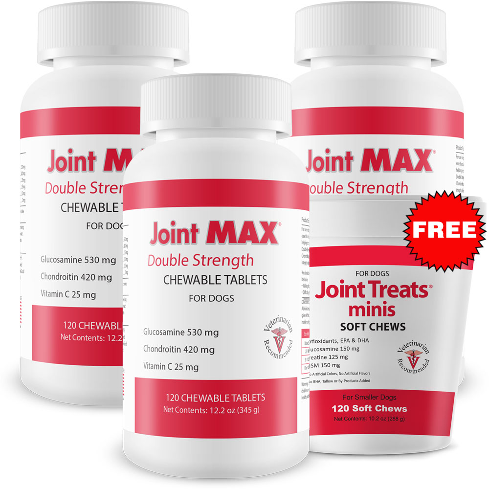 3-PACK Joint MAX Double Strength (360 Chewable Tablets) + FREE Joint Treats Minis