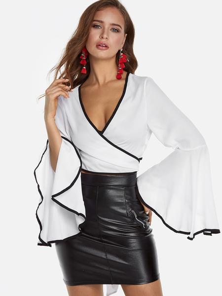 Yoins White Self-tie Cross Front Long Flare Sleeves Crop Top