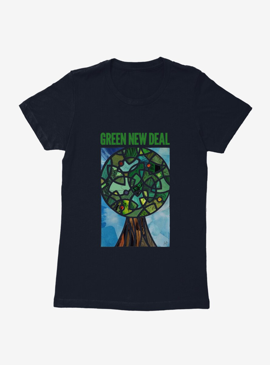 Green New Deal Tree Stained Glass Window Womens T-Shirt