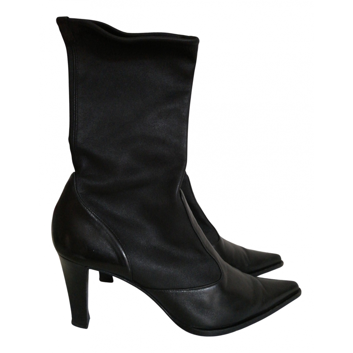 Sergio Rossi N Black Leather Ankle boots for Women 40 EU