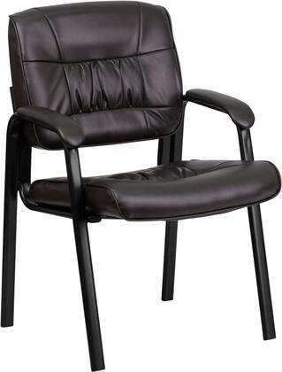 BT1404 Collection BT-1404-BN-GG Executive Side Reception Chair with Padded Arms  Contoured Cushions  Floor Protector Glides  Black Metal Frame and
