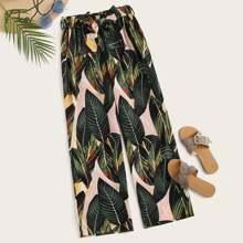 Tropical Print Self Tie Elastic Waist Pants