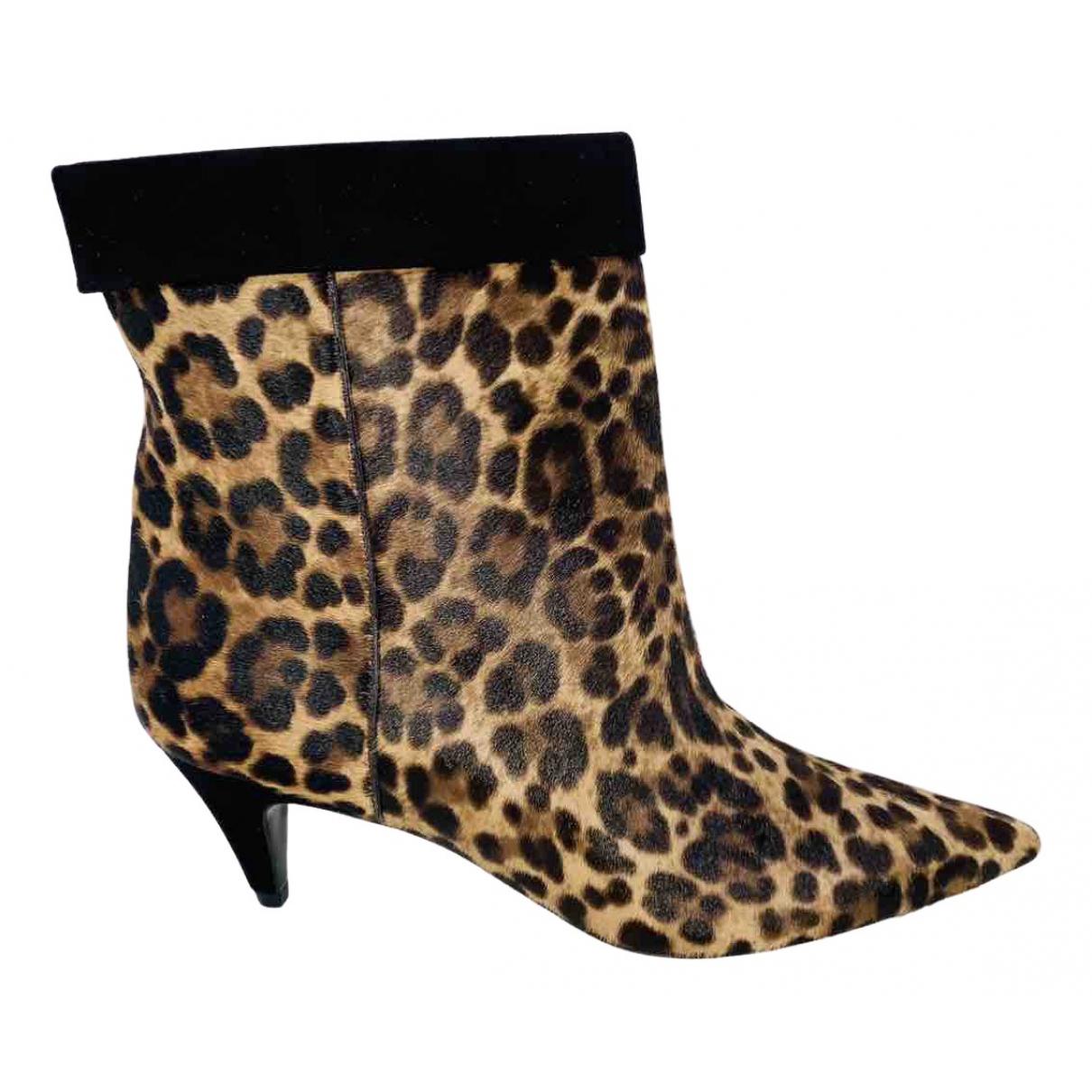 Saint Laurent - Boots Charlotte pour femme en veau facon poulain - noir