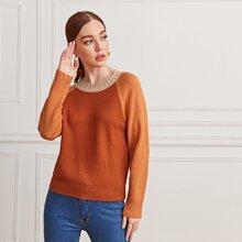 Color Block Raglan Sleeve Sweater