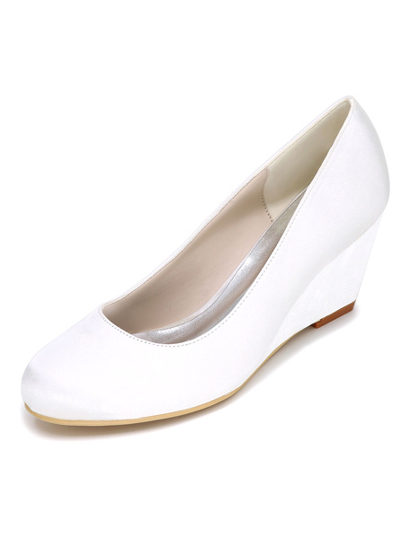 Milanoo Zapatos de novia de saten Zapatos de Fiesta de tacon de cuña Zapatos marfil  Zapatos de boda de puntera redonda 6.5cm sencilla