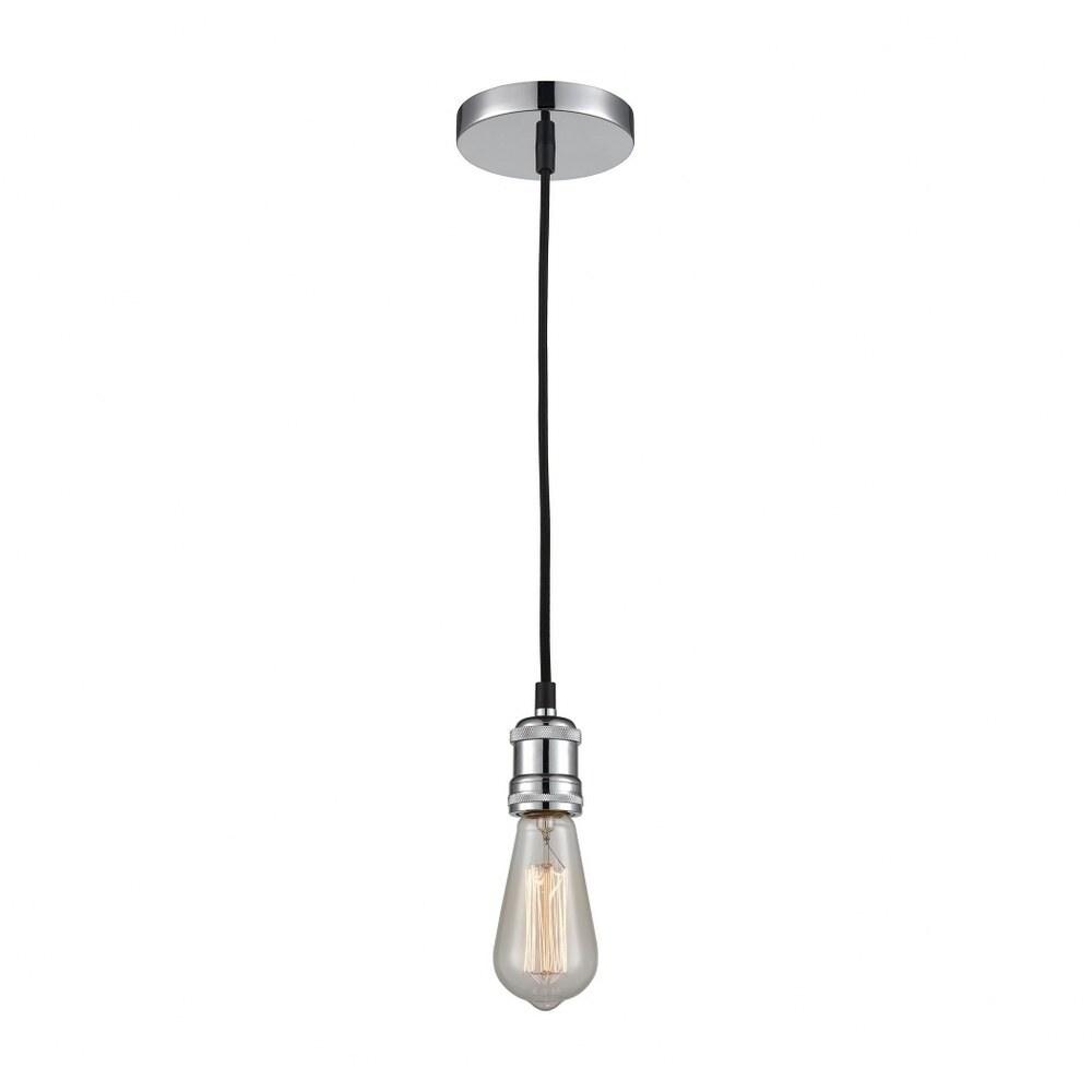 Bare Bulb One Light Pendant - Steampunk Style Single Pendant Light  Chrome Finish (Chrome)