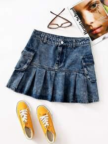 Pleated Hem Denim Skirt