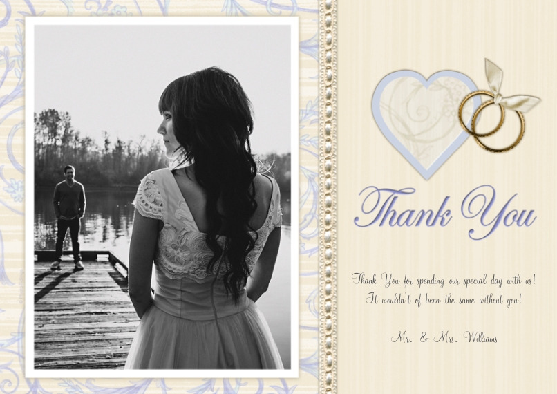 Wedding Thank You 5x7 Cards, Premium Cardstock 120lb with Scalloped Corners, Card & Stationery -Heart & Rings