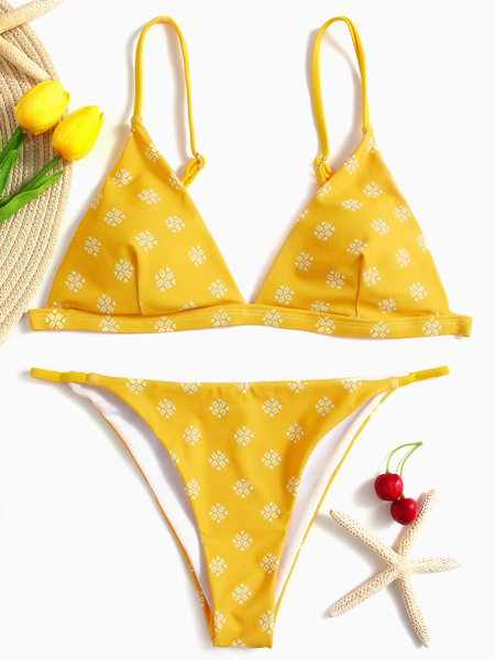 Yoins Yellow Geometrical Print Spaghetti V-neck Sleeveless Bikini