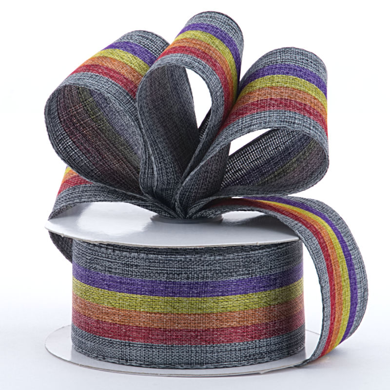 Polyester 1-1/2 X 10 Yards Rainbow Stripe On Gray Ribbon by Ribbons.com