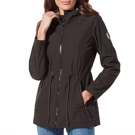 Free Country Hooded Wind Resistant Water Resistant Midweight Softshell Jacket, Small , Black
