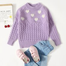 Toddler Girls Cable Knit Raglan Sleeve Sweater