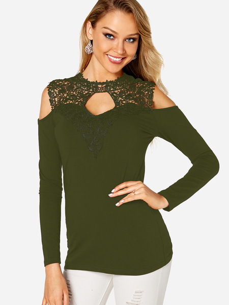 Yoins Green Cut Out Lace Insert Cold Shoulder Long Sleeves Top