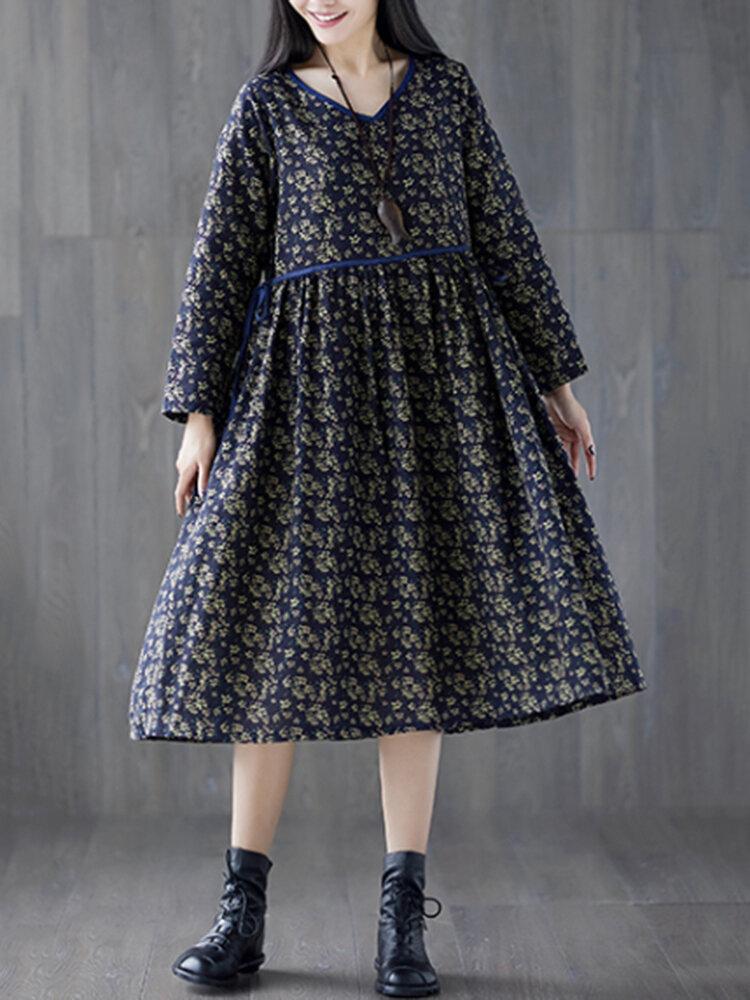 Tie Waist Floral Print Loose Long Sleeve Vintage Dresses