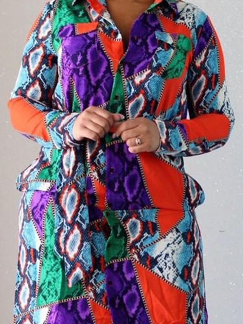 Ericdress Print Lapel Mid-Calf Single-Breasted Winter Dress
