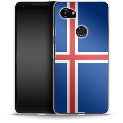 Google Pixel 2 XL Silikon Handyhuelle - Iceland Flag von caseable Designs