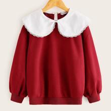 Pullover mit Peter Pan Kragen und Schleife vorn