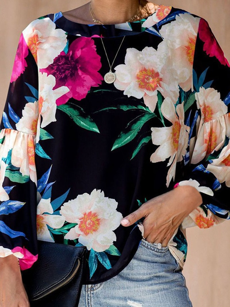 Ericdress Floral Long Sleeve Round Neck Loose Fall T-Shirt