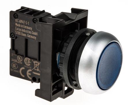 Eaton Round Illuminated Blue Push Button Head - Momentary, M22 Series, 22mm Cutout, Round