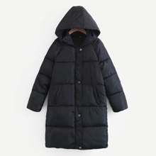 Single Breasted Hooded Puffer Coat