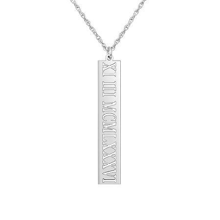 Personalized Roman Numeral Date Pendant, One Size , White