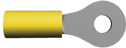 TE Connectivity , PLASTI-GRIP Insulated Crimp Ring Terminal, M5 Stud Size, 2.6mm² to 6.6mm² Wire Size, Yellow (100)