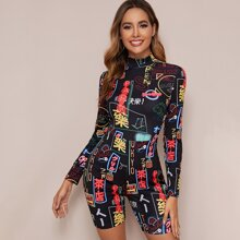 Mock Neck Graphic Cycling Romper