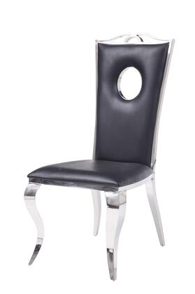 BM195934 Leatherette Upholstered Metal Side Chairs with Cabriole Style Legs  Black and Silver  Set of