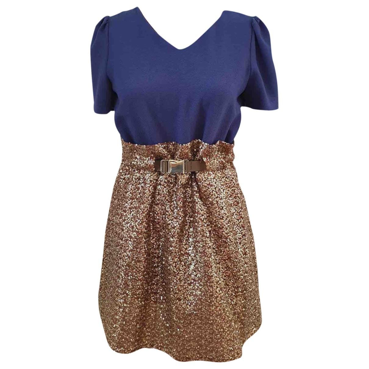 Non Signé / Unsigned Manche ballon Gold Glitter dress for Women XS International
