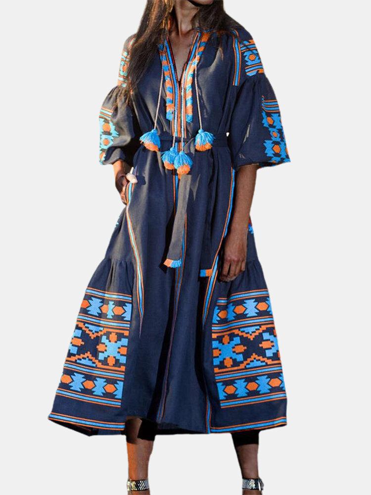 Ethnic Print Patchwork Tassels 3/4 Sleeve Maxi Dress For Women