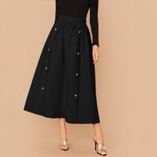 Falda con boton doble de cintura ancha