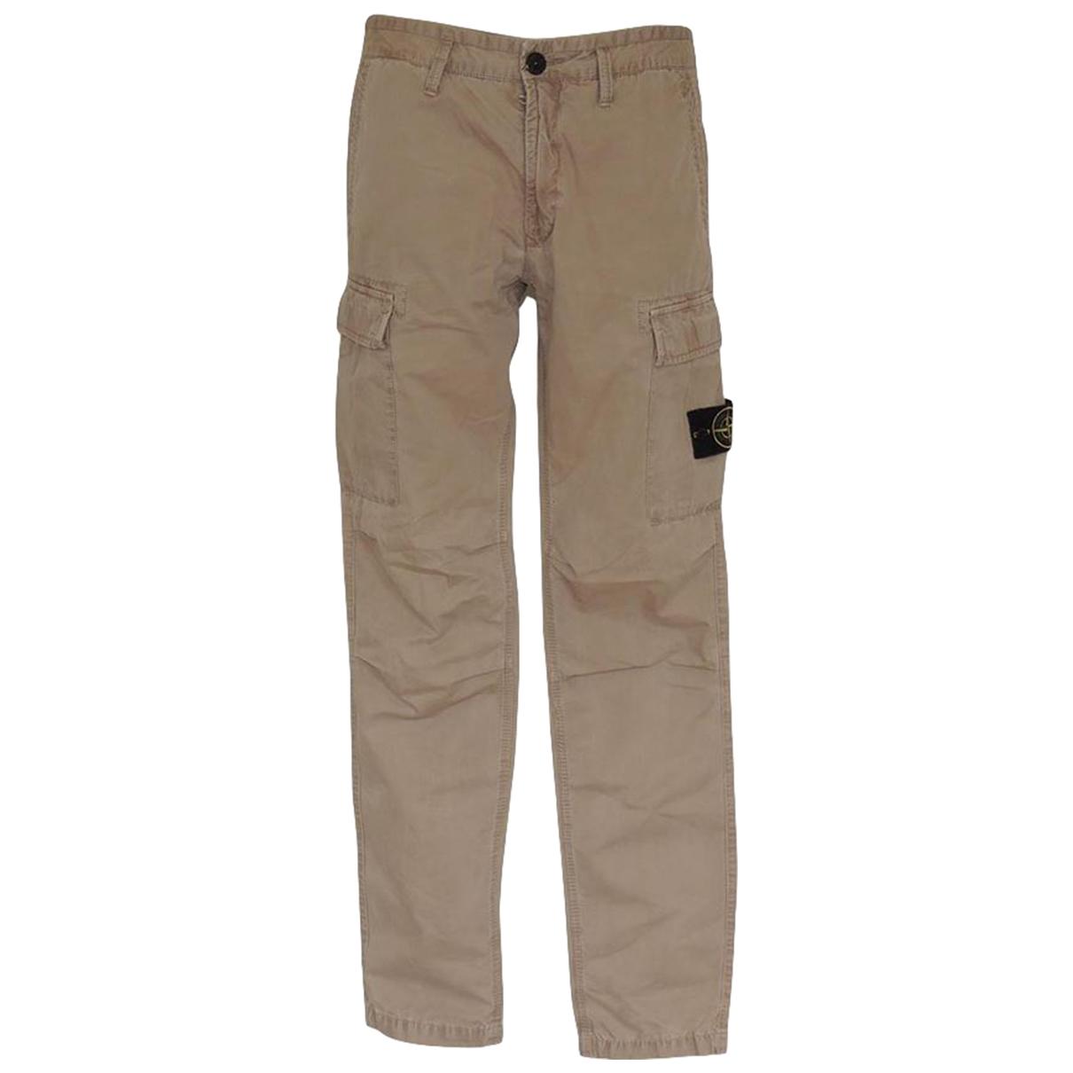 Pantalon en Algodon Beige Stone Island