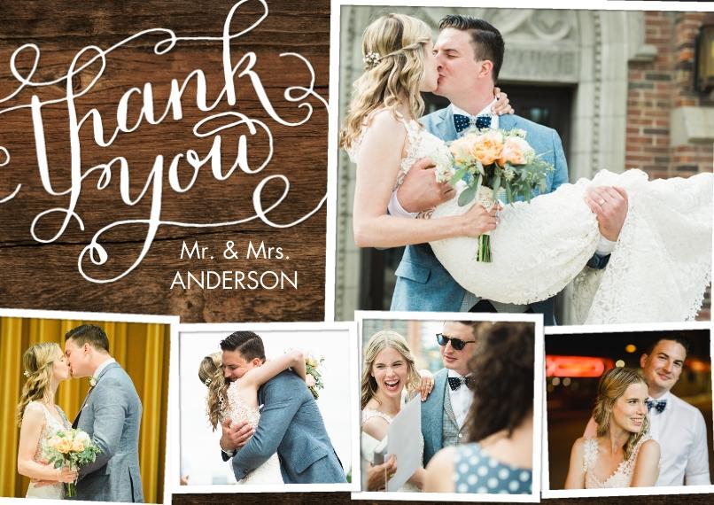 Wedding Thank You 5x7 Cards, Premium Cardstock 120lb, Card & Stationery -Thank You Swirls