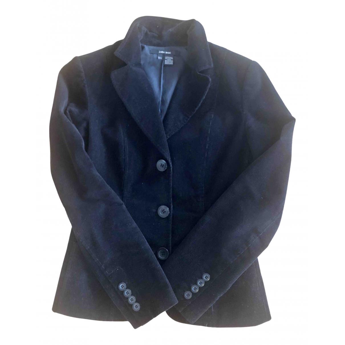 Zara - Veste   pour femme en velours - noir