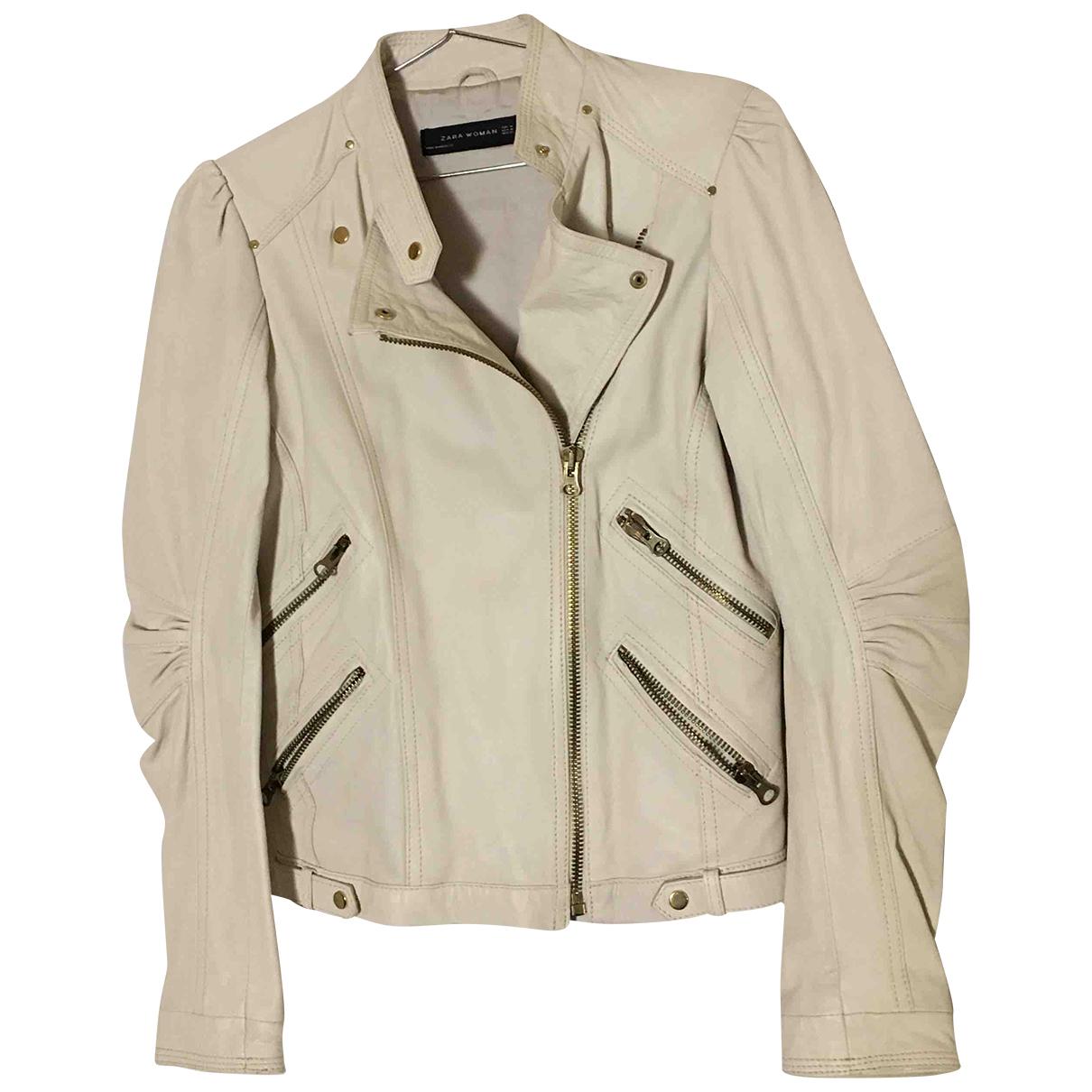 Zara - Veste   pour femme en cuir - blanc