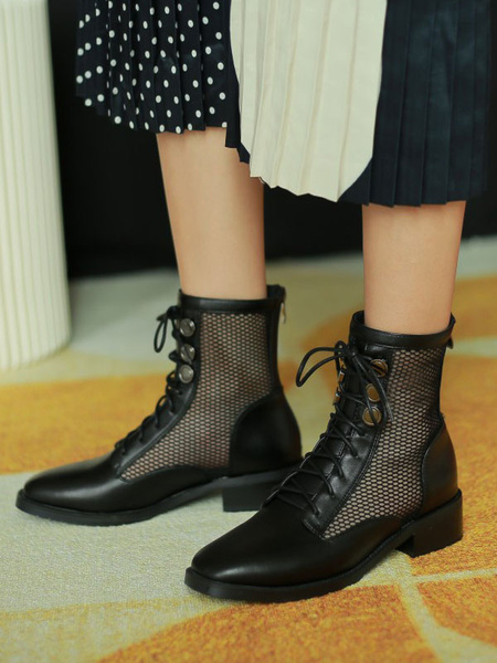 Milanoo Black Summer Boots Women Square Toe Lace Up Boots