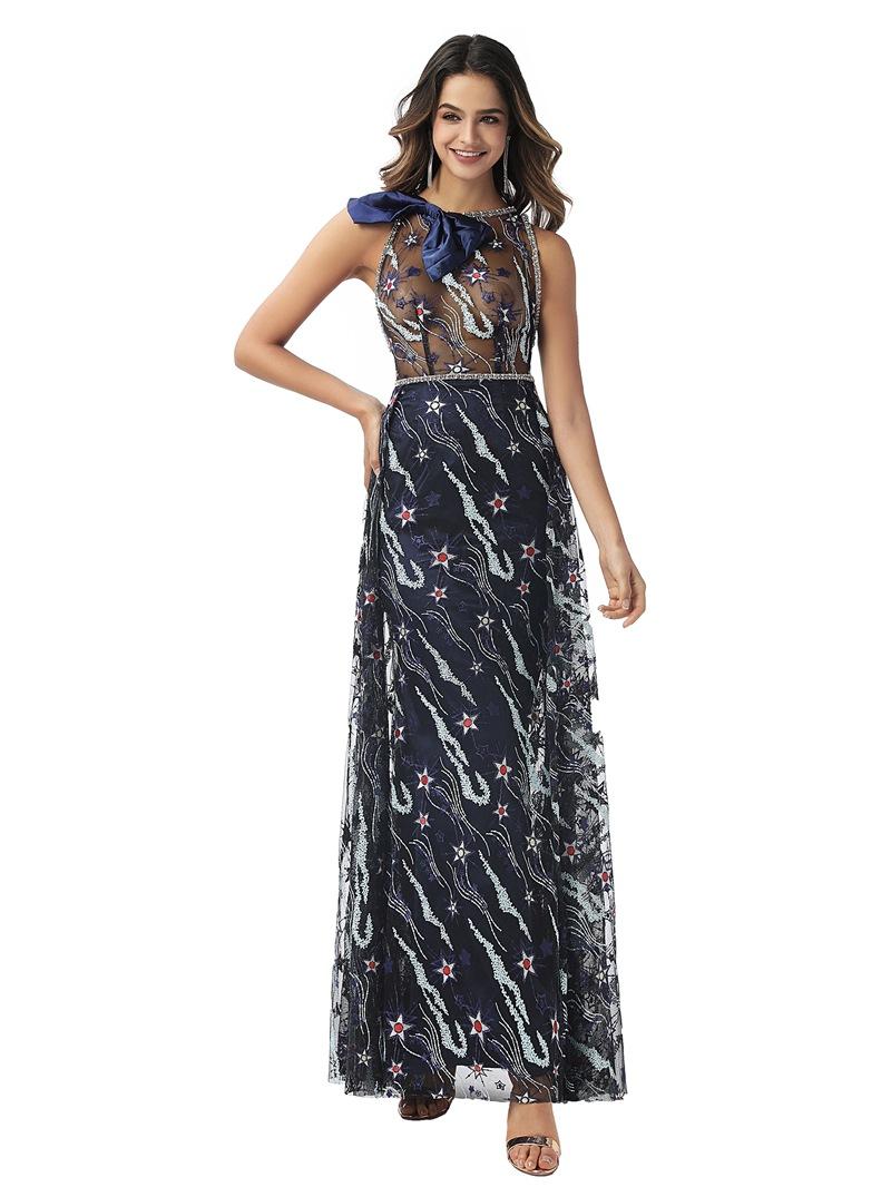 Ericdress Sleeveless Bowknot Sheath/Column Jewel Evening Dress 2020