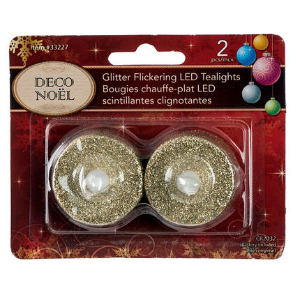 Bougies Chauffe-Plat LED Scintillante Noël Décoration Pile Comprise x2 Pcs - Or
