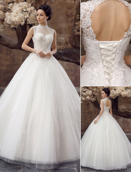 Milanoo Wedding Dresses Ball Gown Bridal Dress Lace Applique Open Back High Collar Sequins Rhinestones Floor Length Bridal Dress