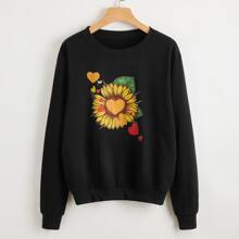Pullover mit Sonnenblumen & Herzen Muster