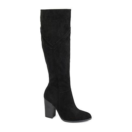 Journee Collection Womens Kyllie Wide Calf Stacked Heel Dress Boots, 9 Medium, Black
